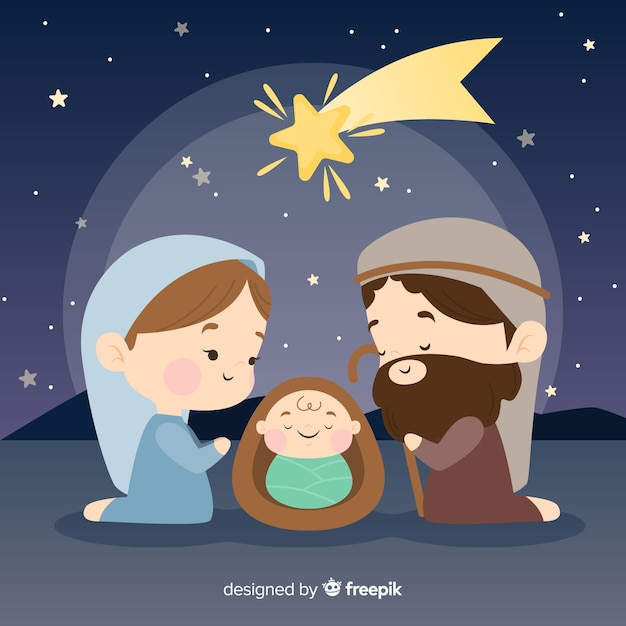 Peaceful nativity scene background Free Vector
