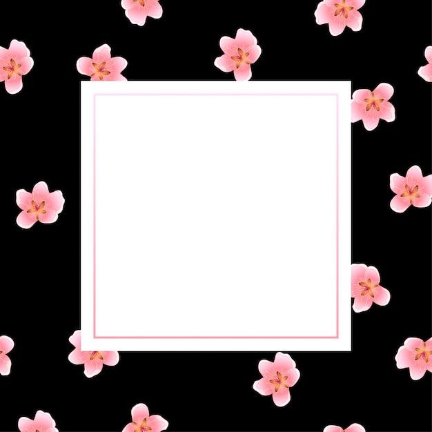 Peach blossom frame on black background Premium Vector