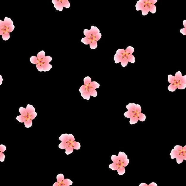 Peach blossom seamless on black background Premium Vector