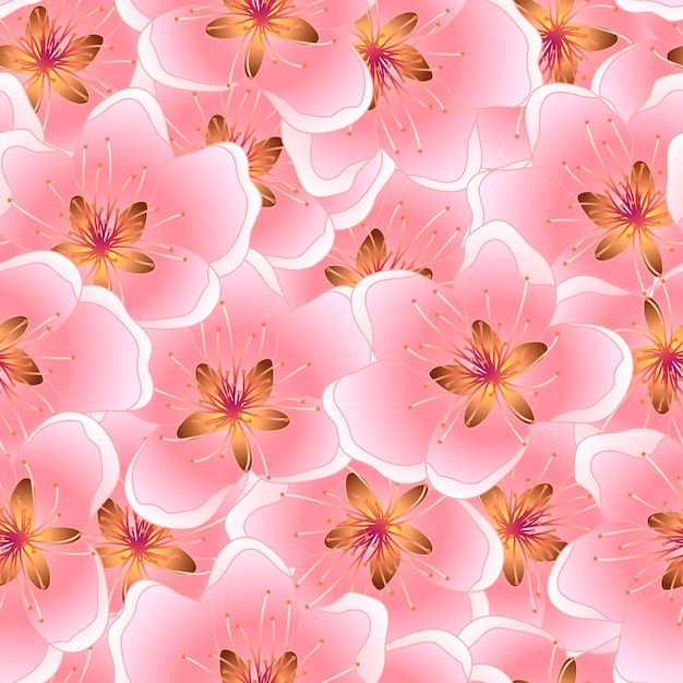 Peach blossom seamless texture background Premium Vector