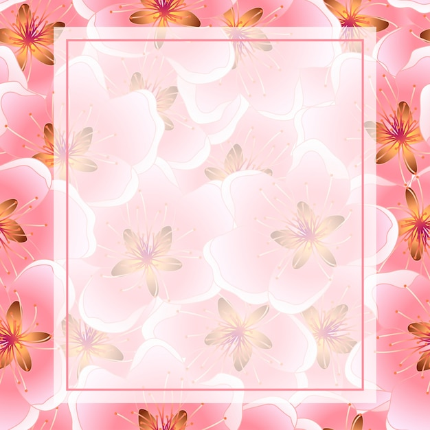 Peach cherry blossom frame background Premium Vector