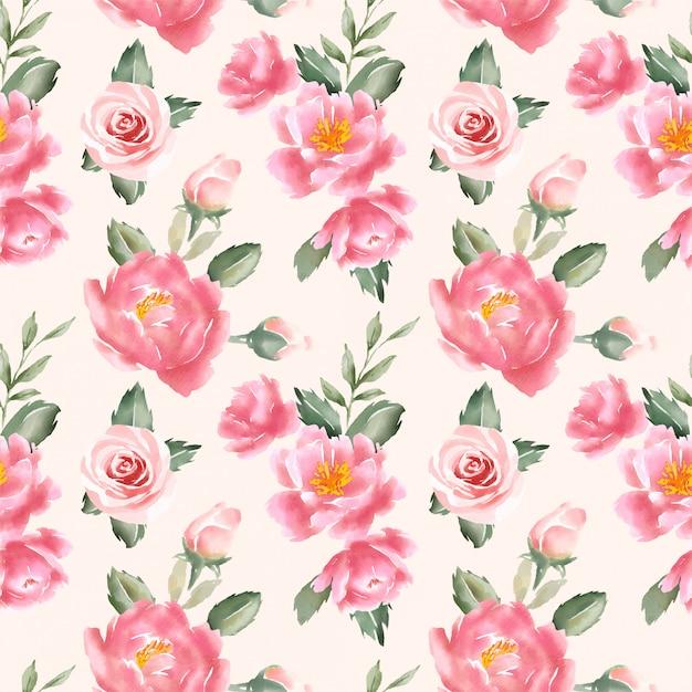 Peach floral watercolor seamless pattern Premium Vector