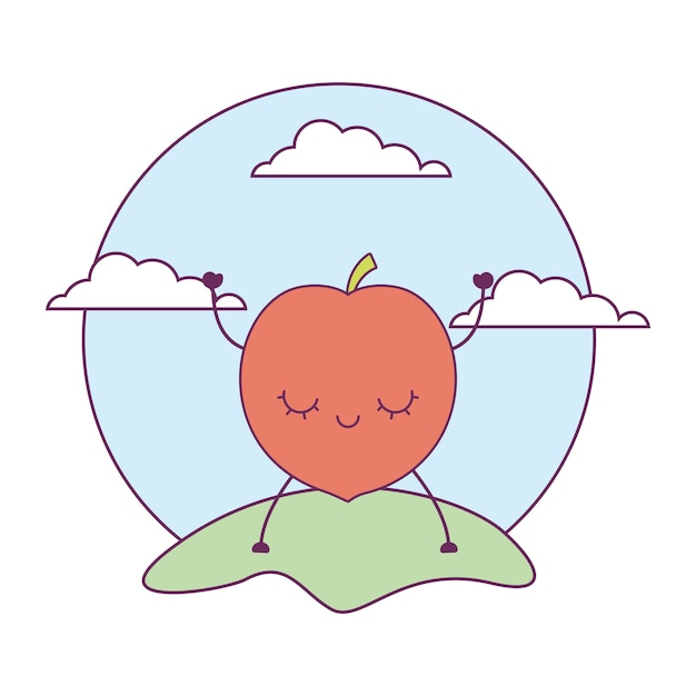 Peach fruit kawaii in landscape Premium Vector
