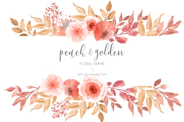 Peach & golden floral frame Free Vector