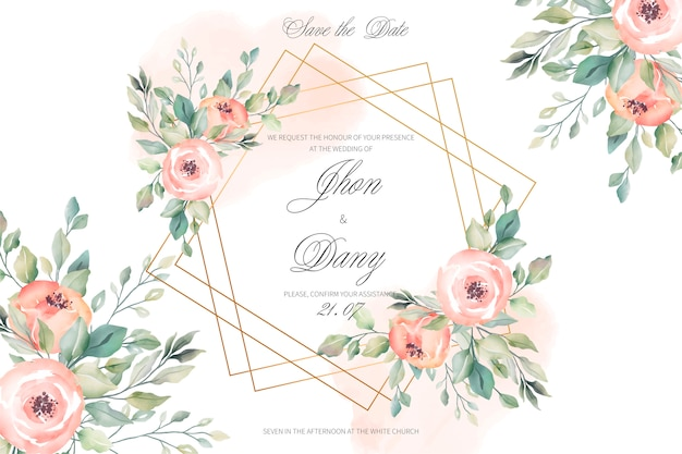 Peach and golden wedding invitation card Free Vector