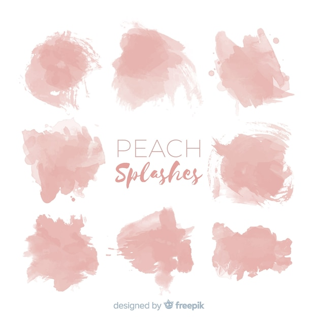 Peach watercolor splash collection Free Vector