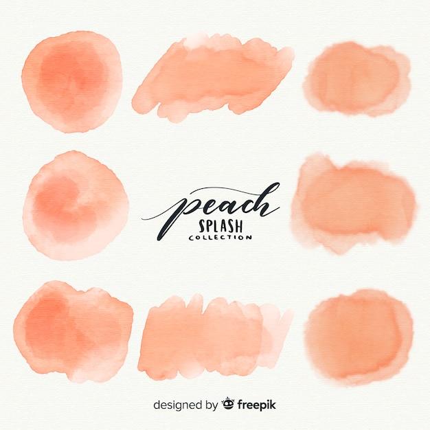 Peach watercolor splash collection Free Vector
