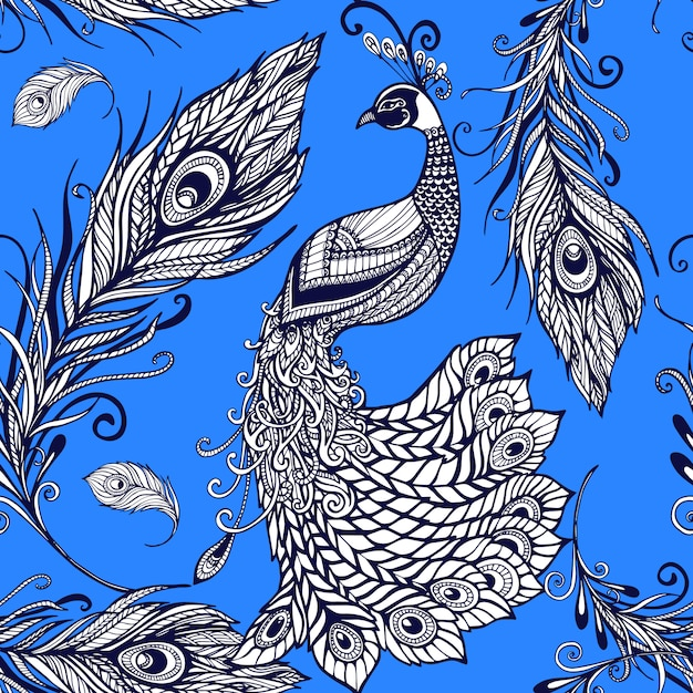 Peacock bird feathers seamless background pattern Free Vector
