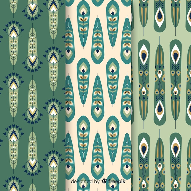 Peacock feather pattern collection with flat design Free Vector