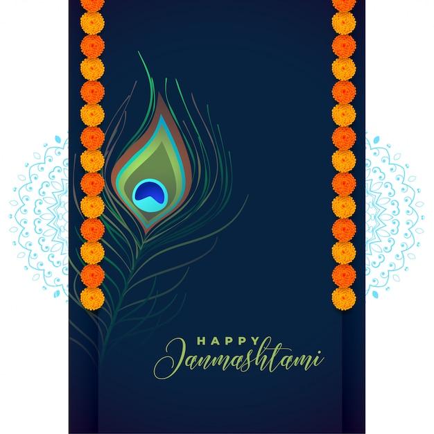 Piuma di pavone per il festival shree krishna janmashtami Vettore gratuito