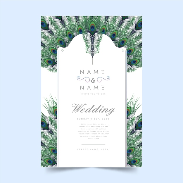 Peacock feather theme for wedding invitation concept Free Vector