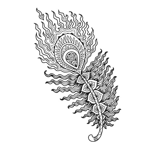 塗り絵の孔雀の羽マンダラデザイン Premiumベクター