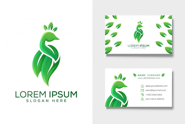 Peacock leaf logo with business card template Premium Vector