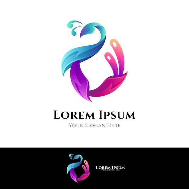 孔雀のロゴのカラフルなスタイル Premiumベクター