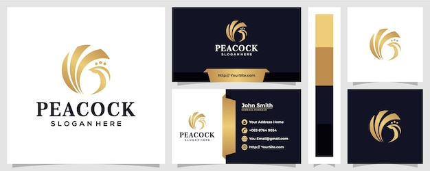 Peacock logo design luxury style with business card concept Premium Vector