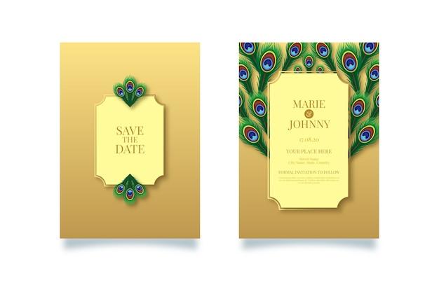 Peacock theme for wedding invitation template Premium Vector