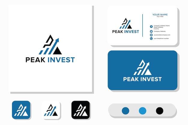 Peak invest logo and business card Premium Vector