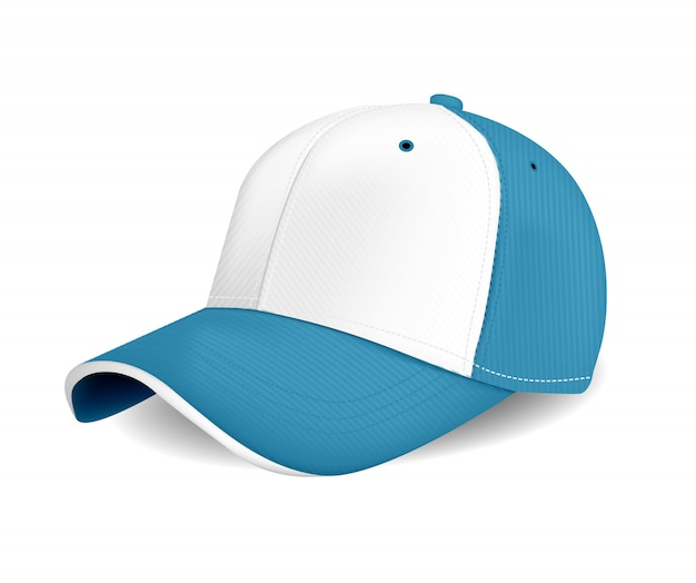 Peaked cap wuth blue color for advertising or print on white background Premium Vector
