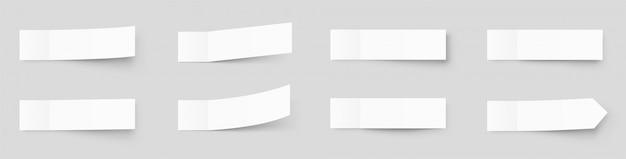Pealistic записок макет, пост наклейки с тенями, изолированные на сером фоне. бумага клейкая лента с тенью. бумажная клейкая лента, прямоугольные пустые бланки Premium векторы
