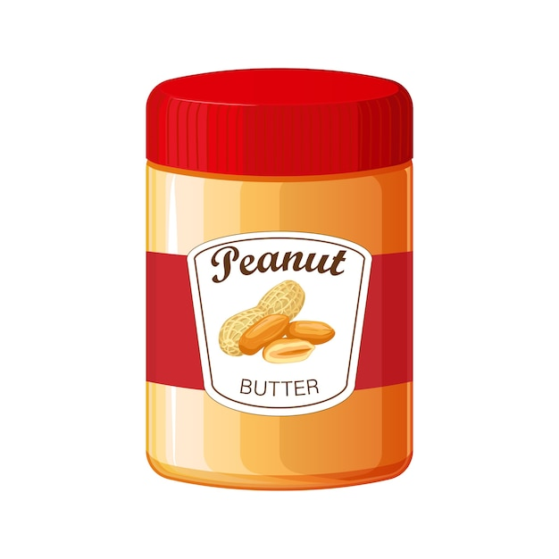 Peanut butter. detailed icon. food for cooking breakfast. jar of peanut butter isolated on white Premium Vector