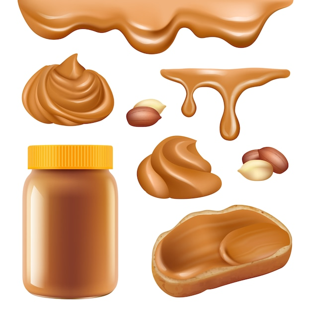 Peanut butter. healthy dessert chocolate protein oily cream for sandwich spread caramel food  realistic pictures Premium Vector