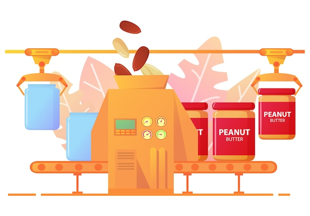 Конвейерная линия по производству арахисового масла в жестяные банки. завод по производству арахисового масла. Premium векторы