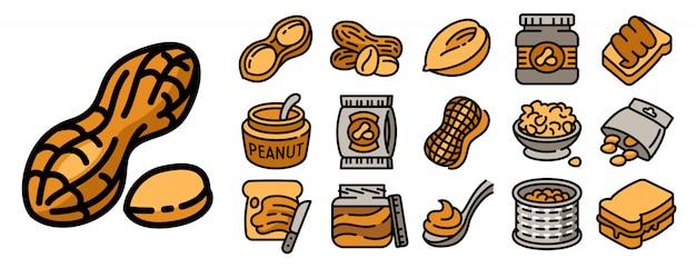 Набор иконок арахиса, стиль контура Premium векторы