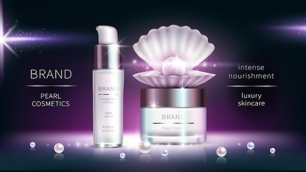 Pearl cosmetics, realistic advertising poster. Free Vector