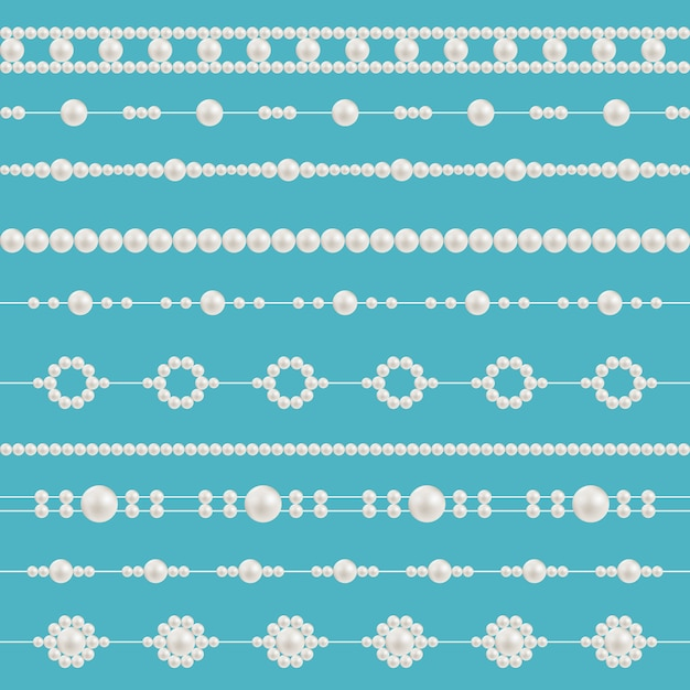 Pearl glamour beads, necklace patterns. Premium Vector