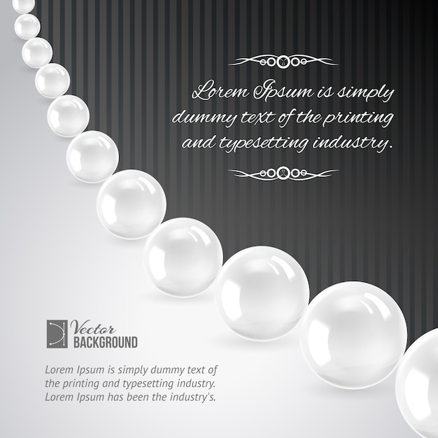 Pearl necklace on black. Free Vector