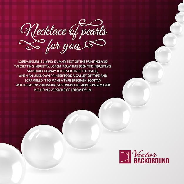 Pearl necklace on red. Free Vector