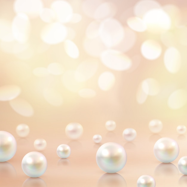 Pearls beads bokeh background Free Vector