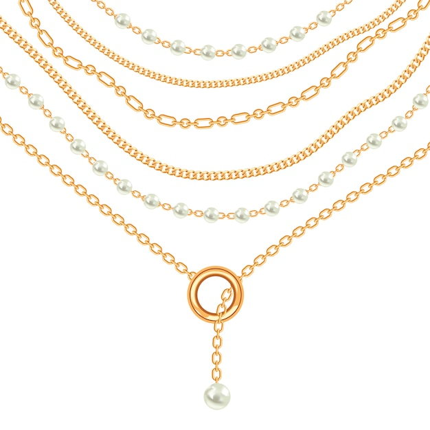 Pearls and chains golden metallic necklace Premium Vector