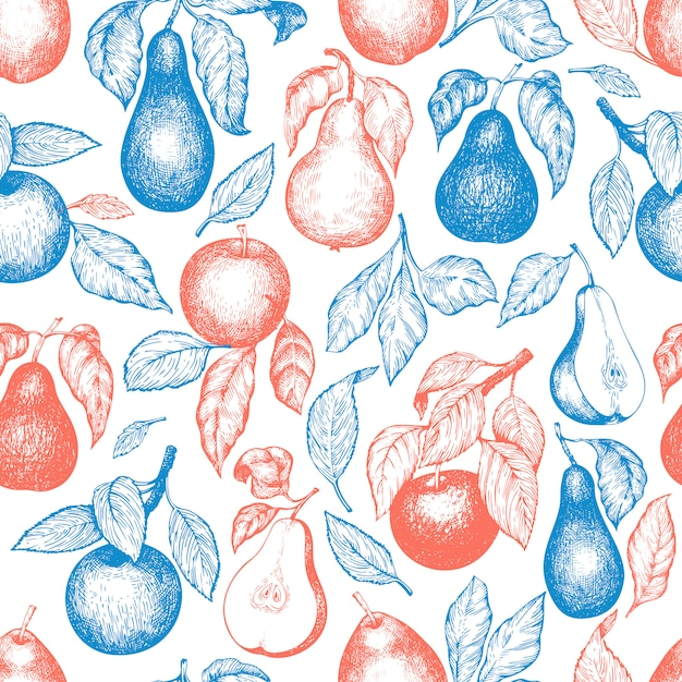 Pears and apples seamless pattern. Premium Vector