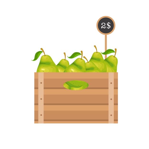 木製の格子の梨 Premiumベクター