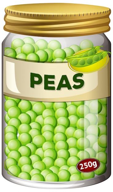 エンドウ豆はガラスの瓶に保存します 無料ベクター