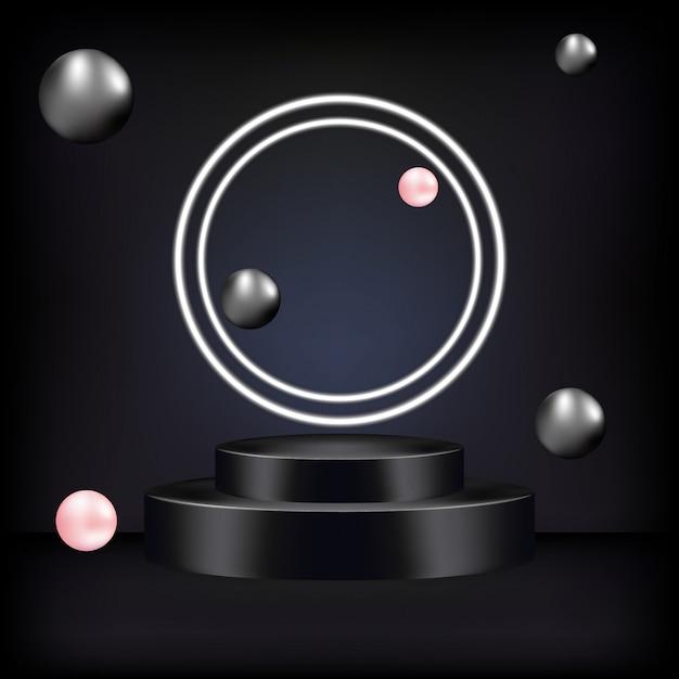 받침대 또는 플랫폼, 화장품 프레젠테이션을위한 검정색 배경. 프리미엄 벡터