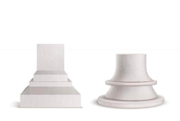 Pedestal, plinth, marble podium set isolated on white background. Free Vector