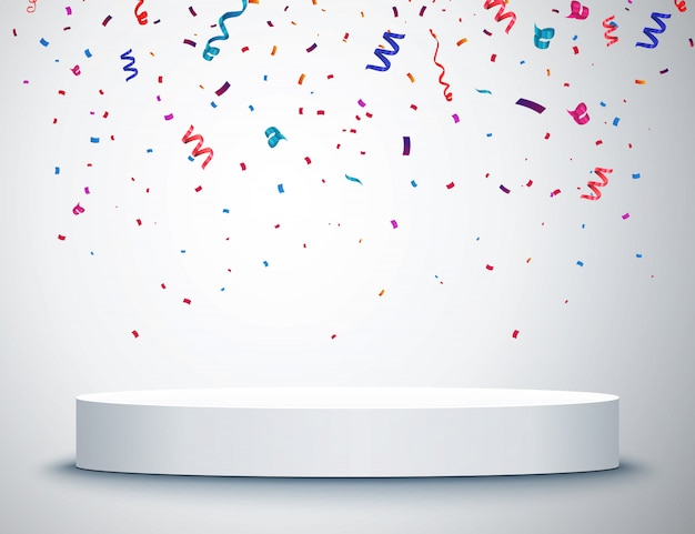 Pedestal with colorful confetti isolated on grey background Premium Vector