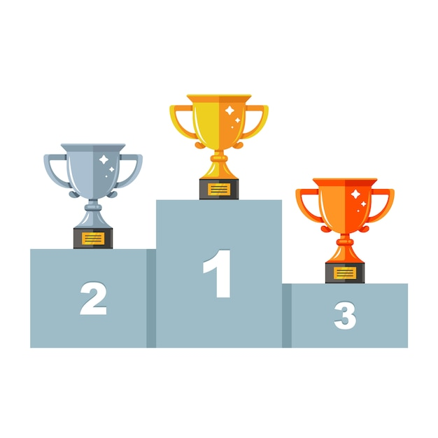 Pedestal with three cups. gold, silver and bronze. award ceremony. flat windy illustration. Premium Vector