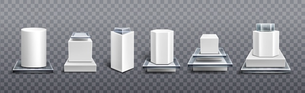 디스플레이 제품 용 흰색 플라스틱 및 유리 받침대 무료 벡터