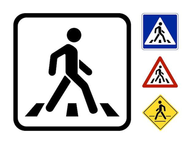 Пешеходный символ векторные иллюстрации, изолированные на белом фоне Бесплатные векторы