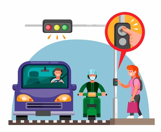 Pedestrian traffic light button information concept in cartoon flat illustration Premium Vector