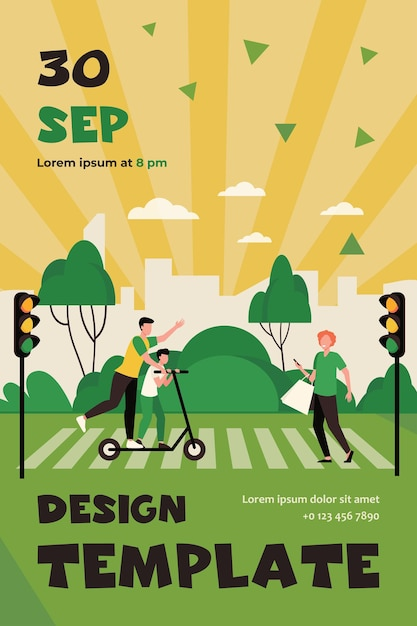 Pedestrians breaking traffic rules. people using cell, riding scooter on crosswalk flat flyer template Free Vector