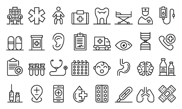Pediatric clinic icons set, outline style Premium Vector