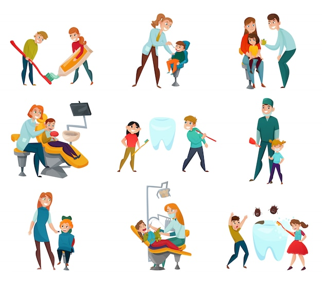 Pediatric dentist set with kids and medical treatment Free Vector