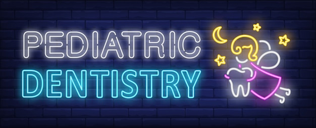 Pediatric dentistry neon text, fairy flying and carrying tooth Free Vector