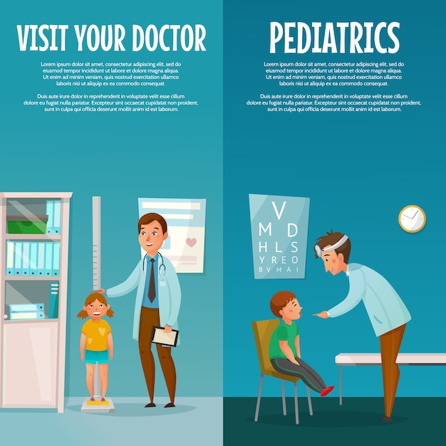 Pediatrician and kid vertical banners Free Vector