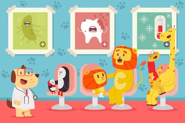 Pediatrics vector cartoon concept illustration with cute animals. Premium Vector