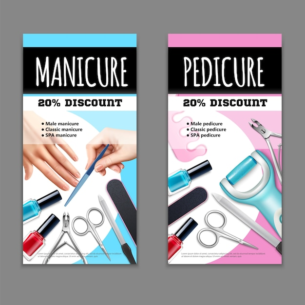 Pedicure and manicure banners set Free Vector